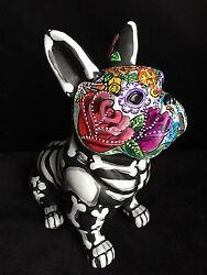 Hand painted Day Of The Dead French Bulldog Statue Frenchie Sugar Skull Large