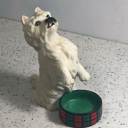 FRANKLIN MINT PUPPY DOG FIGURINE sculpture vintage West Highland White Terrier