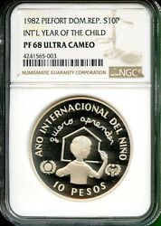 Dominican Republic 1982 Year Of Child Proof Piefort 10 Pesos Ngc 68 Uc Rare