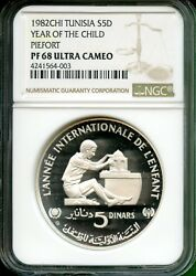 Tunisia 1982 Year Of Child Proof Piefort 5 D Ngc 68 Uc Very Rare