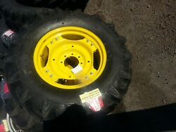 Two 13.6x24 R-1 8 Ply John Deere 1050 Tractor Tires Wheels With Centers