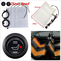 2 Seats Universal Heated Seat Heater Kit 12V Carbon Fiber Round HighLow Switch