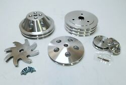 Small Block Chevy 2 / 3 Groove Aluminum Pulley Kit For Short Pump 283 305 350