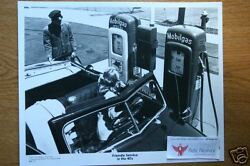 Mobil Oil/gas Sta. Attendant,pumps, Signs,ragtop Old