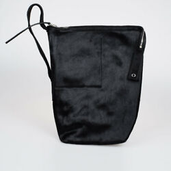 RICK OWENS New Woman Black Pony Skin Leather Bucket Bag Made in Italy