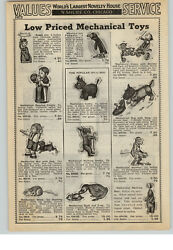 1940 Paper Ad Mechanical Toys Boy And Dog Dancing Couple Rodeo Jim Clown Donkey