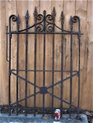 Antique Architectural Usa Home Cast Iron Fineal Badge Flower Garden Gate Fence