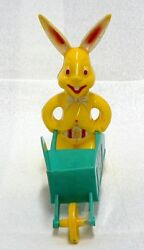 Plastic Yellow Easter Bunny With Wheelbarrow As Is