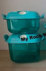 Tupperware Square Heat N Serve Microwave Containers 4-3/4 And 8 Cup Aqua New