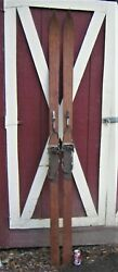 2 Antique Country Primitive Usa Wood Leather Hardware Snow Skis Rustic Wall Art