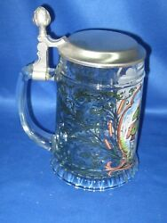 Antique West Germany Embossed And Pewter Lid Beer Stein Mug 7 Tall Fishing Man