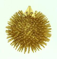 Vintage 18k Yellow Gold Porcupine Pin Brooch With Ruby Eyes