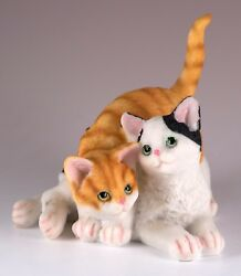 Orange Striped and Black & White Cat Figurine 3.5