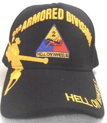 2ND ARMORED DIVISION MILITARY CAP U.S. ARMY BLACK HAT HELL ON WHEELS