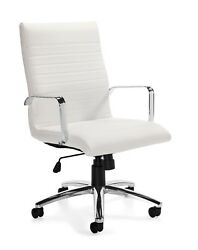 Lot of 10 White Luxhide Ribbed Conference Table Chairs