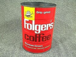 Vintage Folgers Coffee Can Drip Grind 1 Lb Tin Mountain Grown 097k3