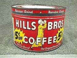 Vintage Hills Bros Brothers Regular Grind Coffee Can Tin 1 Lb. 5 Cents Off