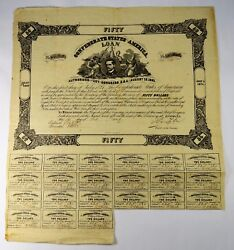 1861 - 50 Confederate States Loan Bond - Cr19 - 21 Coupons - 998 Issued - Fine