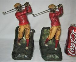 Antique Jennings Brothers Usa Lg. Golf Art Statue Sculpture Polychromed Bookends