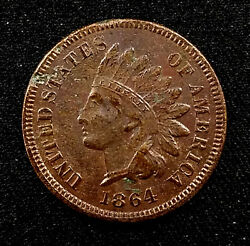 1864 Indian Head Cent, Bronze Composition, L On Ribbon Variety