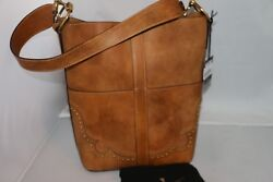 FRYE Ilana Western Bucket Hobo Bag - Tan - DB609