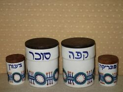 Vtg Israel Lapid Hand Painted Ceramic 4 Spice Containers Set And Its Original Lids