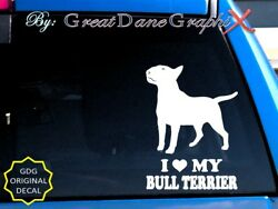 I Love My Bull Terrier -Vinyl Decal Sticker  Color Choice - High Quality