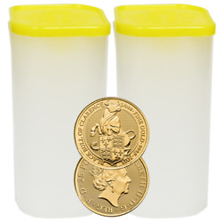 Lot of 50 - 2018 U.K. 25 Pound 14 oz Gold Queen's Beast The Black Bull of Clare