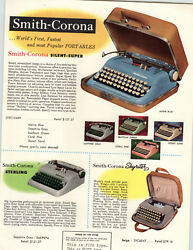 1958 Paper Ad Smith Corona Portable Typewriter Silent Super Sterling Skyriter