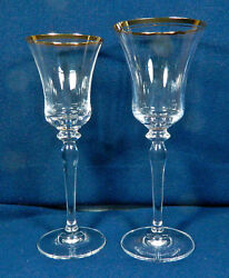 Set Of 24 Or Less Of Mikasa Jamestown Clear W/gold Trim T2703 Pat Goblets