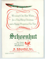 1953 Paper Ad Schoenhut Toy Piano Co Merry Christmas