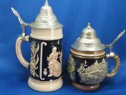2 Antique German Beer Stein Mug Pewter Lids Embossed And Engraved Very Collectible