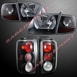 Set Of Black Housing Headlights W/ Corner + Taillights For 97-02 Ford Expedition