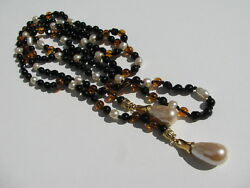 Exquisite Vtg. Whitby Jet Amber Faux Baroque Glass Pearl Beads Lariat Necklace