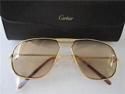 AUTHENTIC MADE IN FRANCE CARTIER AVIATOR 3 GOLD VENDOME 62 MM SUN WEAR 18K. GP