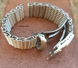 Clearance 20mm All Brushed Shark Stainless Steel Mesh Watch Band W/ Solid Buckle