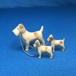 Adorable Miniature Fox Terrier Dog W Puppies On Leash Great 4 Dollhouse