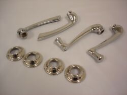 1935 Ford Car And Pickup Truck Door Handle And Window Crank Set With Escutcheons