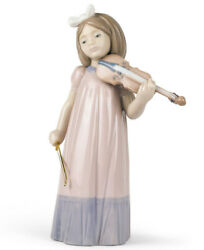 Nao By Lladro Girl With Violin 1034 Brand New In Box Music Bow Cute Save F/sh