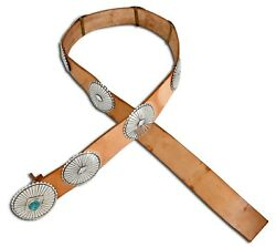 Vtg Native American Indian 925 Silver Hand Stamped Kingman Turquoise Concho Belt