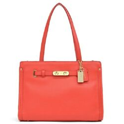 Coach Women's Polished Pebble Leather Small Swagger Tote 34915 Watermelon