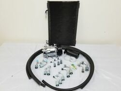 Universal 134a Air Conditioning AC Hose Kit w Drier Condenser Chrome Compressor