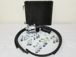 Universal 134a Air Conditioning AC Hose Drier Kit w Chrome Compressor Condenser