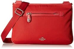 Coach Women's Small Nylon Crossbody Shoulder Bag Style 36707 (SilverTrue Red)