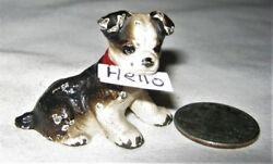 ANTIQUE HUBLEY CAST IRON TINY BOSTON TERRIER TOY PARTY PAPERWEIGHT CARD HOLDER A