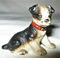 ANTIQUE HUBLEY CAST IRON TINY BOSTON TERRIER TOY PARTY PAPERWEIGHT CARD HOLDER B