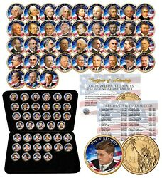 Complete Set U.s. Presidential 1 Dollar 39 Coins - Colorized 1-sided With Box