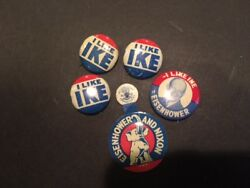6 Pin Lot I Like Ike Eisenhower And Nixon Three 3/4 In. One 1 In. One1 And1/4 In