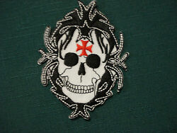 Iron On Patch Skull Red Cross CLEARANCE AU $2.50