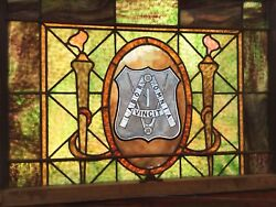 Rare Antique And Historic Fraternal Leaded Stained Glass Wooden Window Frame